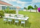 海邦フサキ・ウェディングパーティー&披露宴 ガーデン会場から本館を望む