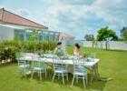 海邦フサキ・ウェディングパーティー&披露宴 ガーデン会場から本館を望むパーティーシーン