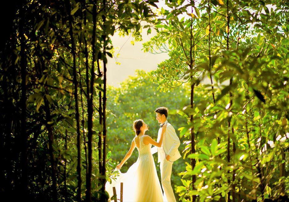 ジャングル・ホテル・パイヌマヤ西表島結婚式 マングローブ・フォトウェディグ 挙式前撮影 サンセットを望む桟橋