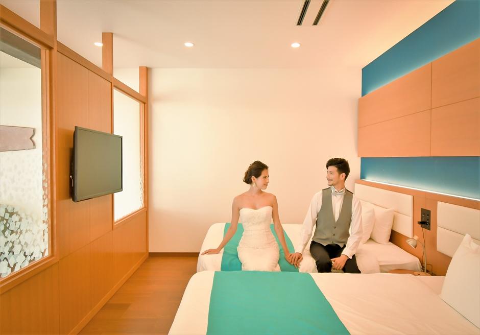 石垣シーサイドホテルスイートルームベッドルームフォトウェディング
