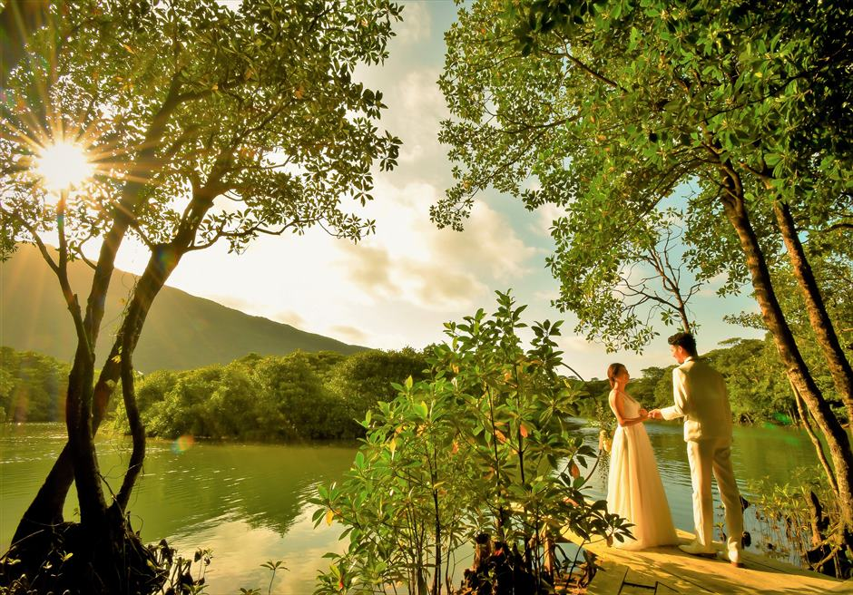 ジャングル・ホテル・パイヌマヤ西表島結婚式 マングローブ・ウェディング サンセット 桟橋へ入場シーン