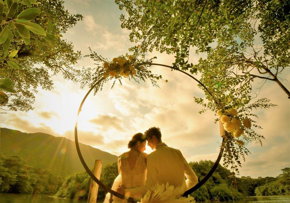 ジャングル・ホテル・パイヌマヤ西表島結婚式 マングローブ・ウェディング サンセット 挙式後撮影・フォトウェディング