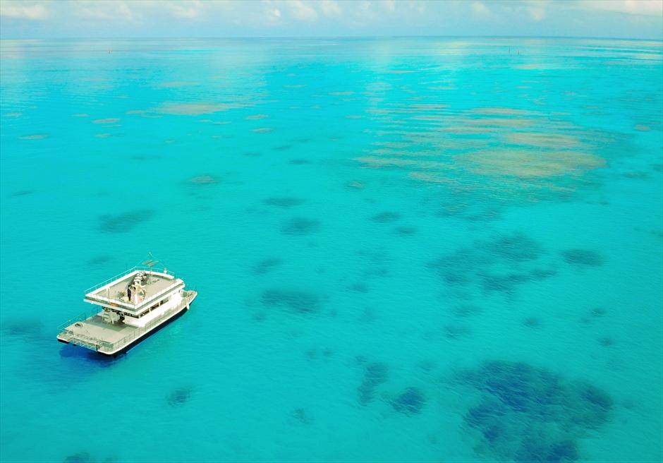 沖縄石垣島 竹富島小浜島の近海環礁上 アイランド・クルージング・ウェディング 遮るものがない海と空の挙式