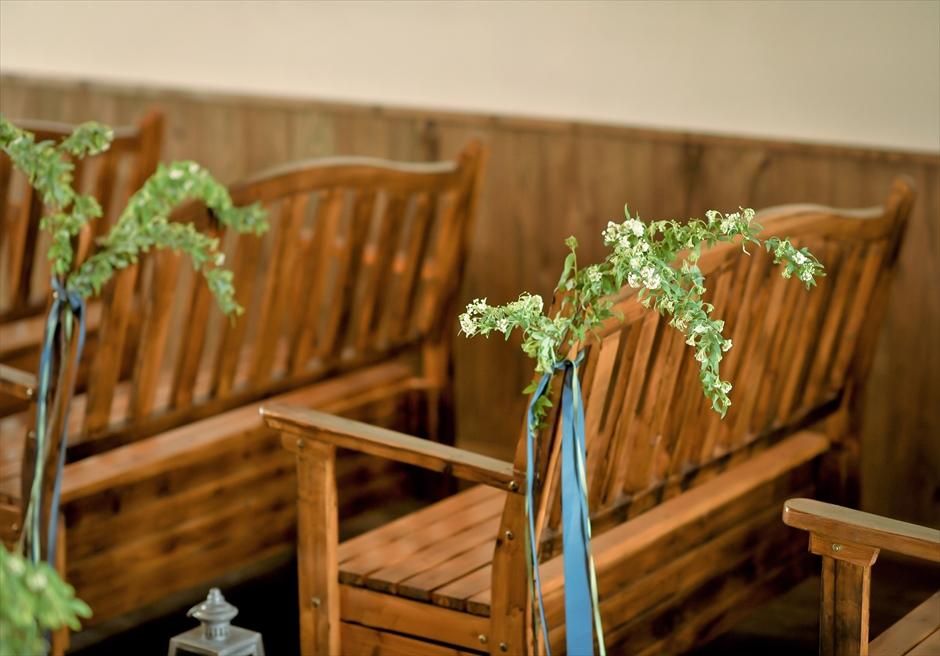 石垣シーサイド・ホテル・チャーチ結婚式│聖カビラ教会・チャペル・ウェディング│セレモニーチェア装飾