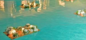 プール・フローティング・キャンドル<br><br>LEDキャンドル3個&アンティークフラワー装飾 9セット<br>プール吊り糸9セット分<br>