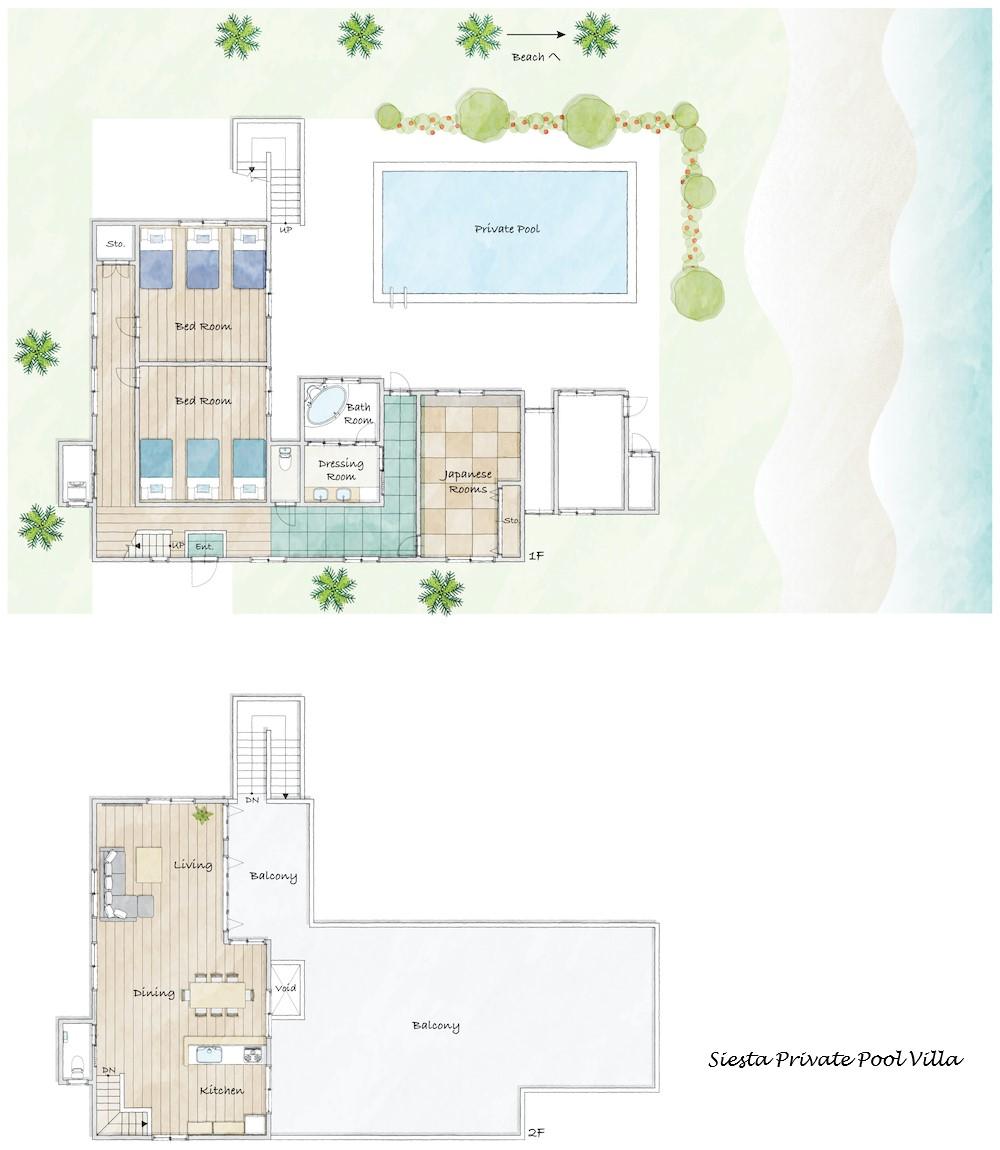 シエスタ・プライベート・プール・ヴィラ/館内マップ